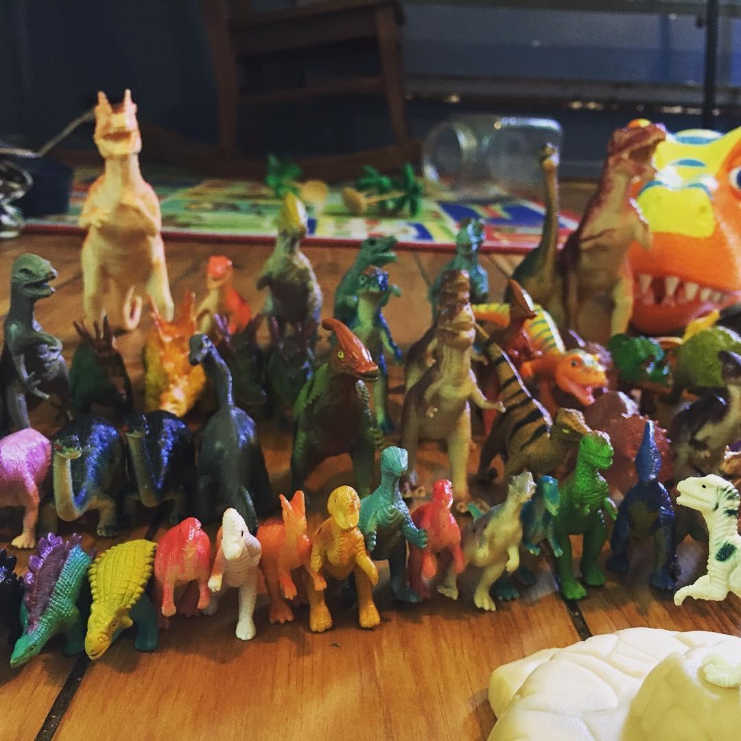 Henry and I spent the morning playing Dinosaur Church wheretwoorthreearegathered